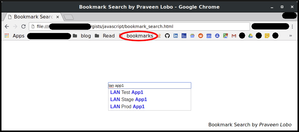 Bookmark Search by Praveen Lobo